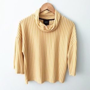 W5 Anthropologie Mustard Striped Cowl Neck Top